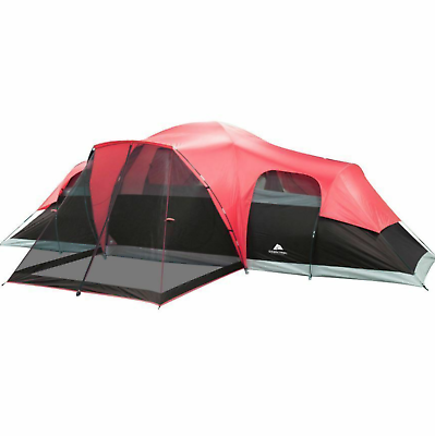 LARGE OUTDOOR CAMPING Tent, 10 Person 3 Room Cabin Screen