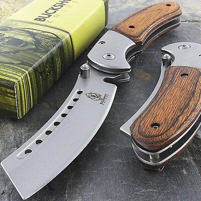"8"" BUCKSHOT RAZOR BLADE STYLE WOOD SPRING ASSISTED FOLDING POCKET KNIFE Open EDC 2"