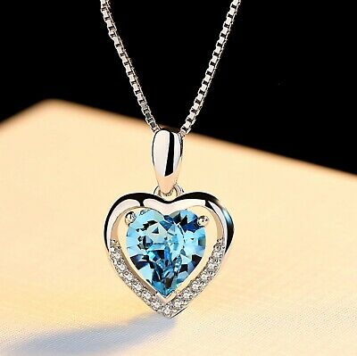 925 Sterling Silver Heart Crystal Stone Pendant Chain Necklace Womens Jewellery 5