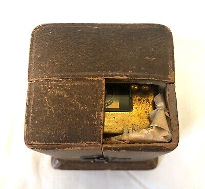 Antique 8 day Miniature Brass Carriage Clock Timepiece with Travelling Box Case 12