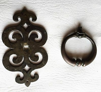 Antique Hardware Mid Century Modern MCM French Provincial Ring Pull Drawer Pull 4