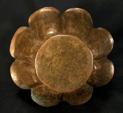 Early 20th C Arts & Crafts Hand Hammered Copper Bowl, 8 Lobes, Petal Lip No Mark 12