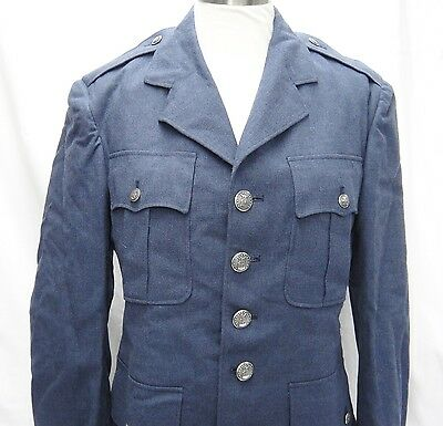 Air Force Uniform Dress Blue Wool Serge Mens Coat 37r 1950s Usaf