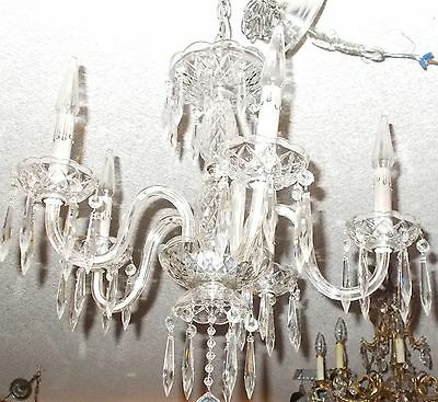 Antique Maria Theresa Crystal Prism 5 Arm Chandelier from Boston Archit Salvage 9