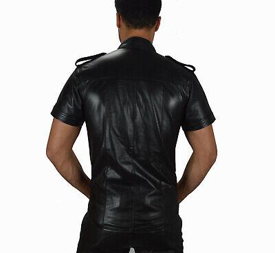 AW-665 Lederhemd Schwarze leder hemd,Soft leather shirt en cuir,Lederuniform