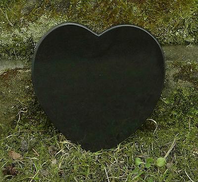 Grabschmuck Trauerspruch Gedenkstein Marmor Du bist nicht mehr da - Herz 12,5cm 4