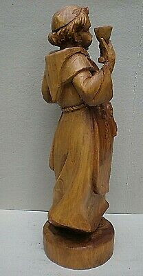 Very Large Black Forest Swiss Carving of a Monk with Raised Glass 6