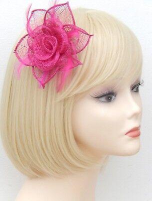 Fuchsia Pink Fascinator Brooch Clip Hair Feather Flower Wedding Ladies Day Races 7