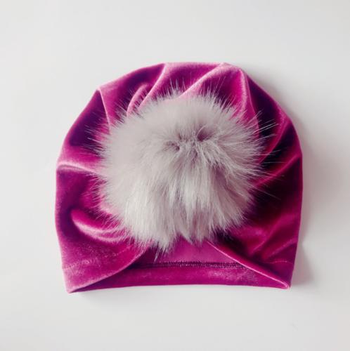 Handmade Infant Baby Girls Velvet Turban Hat Cap Beanie Knot Headband Head Wrap 3