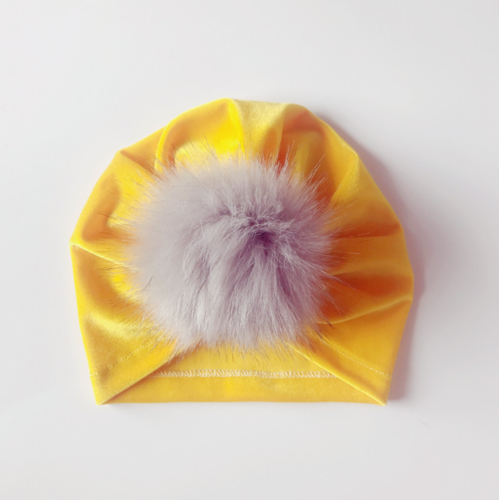 Handmade Infant Baby Girls Velvet Turban Hat Cap Beanie Knot Headband Head Wrap 6