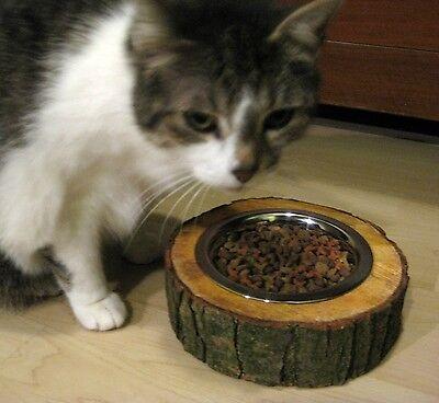 2er Set Hunde Katze Futternapf Freßnapf Wassernapf Baumscheibe Holz Edelstahl