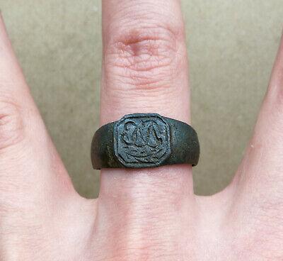 Ancient Viking Old Bronze FABULOUS STATUS Ring Runic Ornament VERY RARE 4