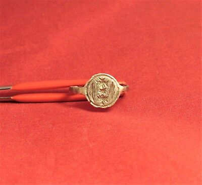 Medieval Silver Knight's Seal Ring 12. Century