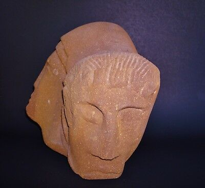 """Two Carved Heads on a very Heavy 12"""" W x 10"""" H x 7"""" D Sandstone 3"""