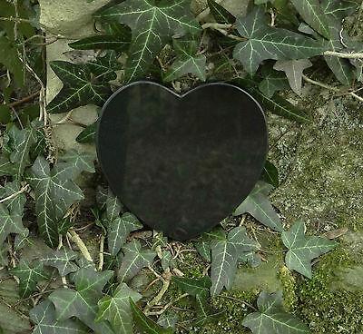 Grabschmuck Trauerspruch Gedenkstein Marmor Du bist nicht mehr da - Herz 12,5cm 5