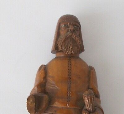 """Wood Carved Ethnic Man with Staff~~7 1/2"""" Tall~~Beaded Eyes~~Stands On His Own 6"""