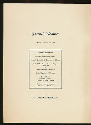 1955 rms nieuw amsterdam farewell dinner menu holland america line 1955 rms nieuw amsterdam farewell dinner menu holland america line publicscrutiny Image collections
