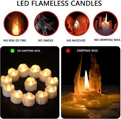 12//24 × LED Teelichter mit Fernbedienung Batterien flackernd Teelicht Kerzen Set