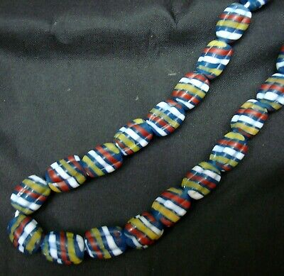 """Rare 23"""" 43 Bead Ancient Phoenician Spiral Spiral Colorful Opaque Glass Necklace 6"""
