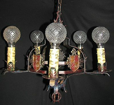 Vtg Gothic Revival Tudor Art Craft Deco Iron Chandelier Fixture 6