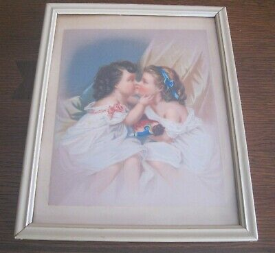 2 Vintage Victorian Color Chromolithographs Two Girls Kissing Sleeping 3