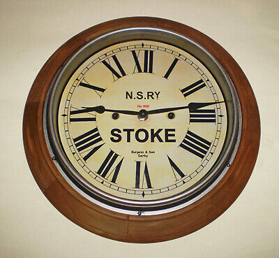North Staffordshire Railway NSR Victorian Style Wooden Clock, Stoke Station 2