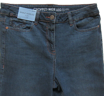 New Womens Blue Crop Ankle Wide Leg NEXT Jeans Size 16 14 12 10 6 RRP £28 3