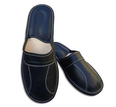 Herren LEDER Hausschuhe Pantoffeln Latschen Schlappen Schwarz, Gr. 40 - 48 2