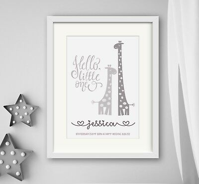 GIRL New birth Newborn Personalised baby print Christening Gift Wall Art Giraffe 3
