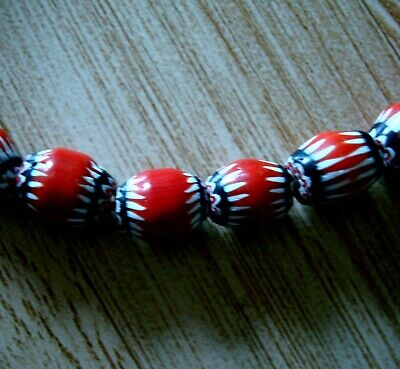 """21"""" 37 Bead Antique Phoenician Blue, White, Red Six Layer Chevron Glass Necklace 8"""