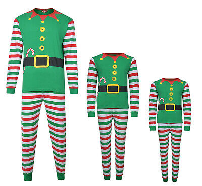 Christmas Pyjamas Family Xmas Elf Theme Ex Store Mum Dad Kids Pj Sets Night Wear 2