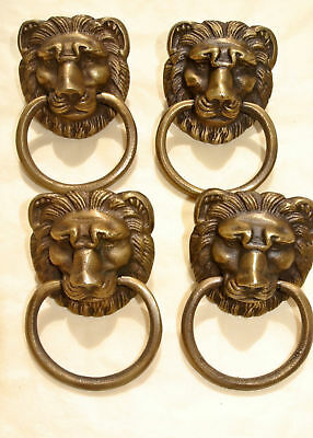 6 LION pulls handles Small heavy  SOLID BRASS old style bolt house antiques B 3