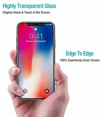 For Apple iPhone X XS Full Coverage Soft Edge 9H Tempered Glass Screen Protector 2