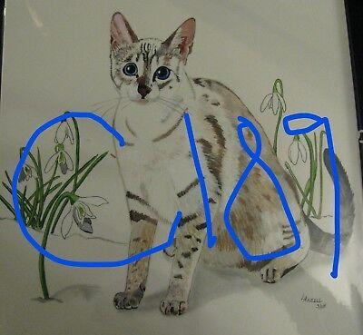 "C74  Original Acrylic Painting By Ljh   ""Minnie""   Cat 8"