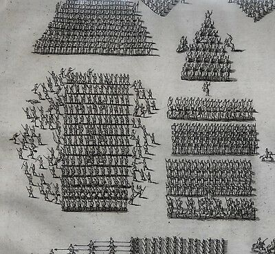 1730 DISPLAYABLE Copper Plate  ENGRAVING Roman Empire GREEK PHALANXES FORMATION