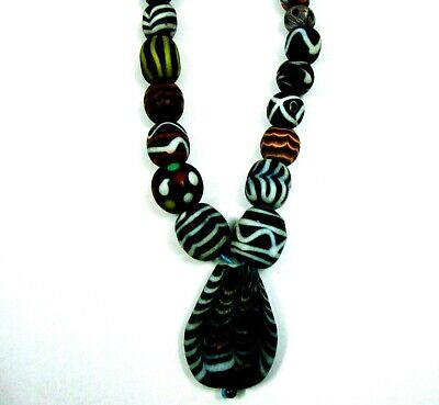 """Rare 22"""" 45 Beads Phoenician Mosaic Glass Assorted Bead Pendant Necklace A4 10"""