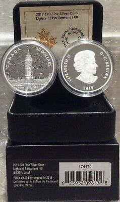 2019 Northern Lights Parliament Hill Glow-Dark $20 1OZ Silver Proof Coin Canada 7
