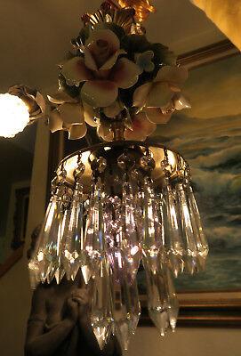 Porcelain ROSE pink Chandelier SWAG lamp Capodimonte Brass Vintage crystal 11
