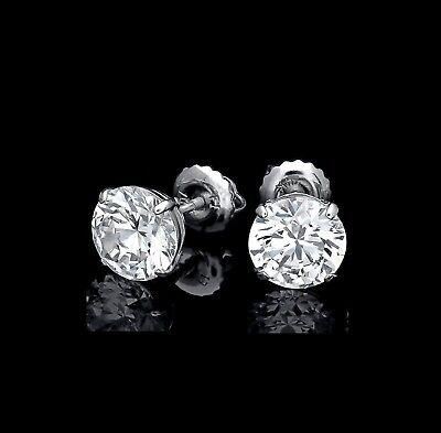 3 Ct. Round Created Diamond Stud Earrings 14K White Gold Heavy Basket Screw-Back 3