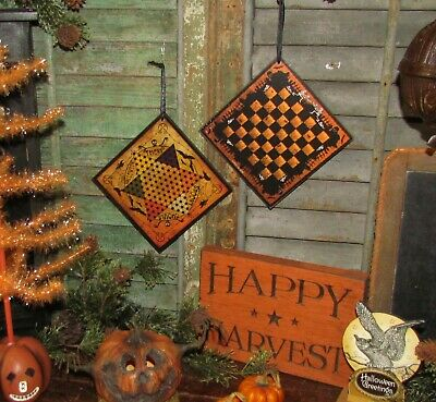 Prim Antique Vtg Style Spooks Ghouls Halloween Chines Checkers Game Board Sign 3