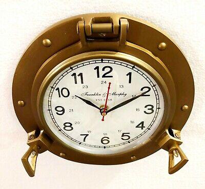 Antique Marine Brass Ship Porthole Clock 22.86 cm Nautical Wall Clock Home Decor 2