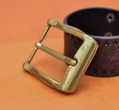 40mm Cool Solid Antique Brass Casual Men Single Pin Prong Leather Belt Buckle 5
