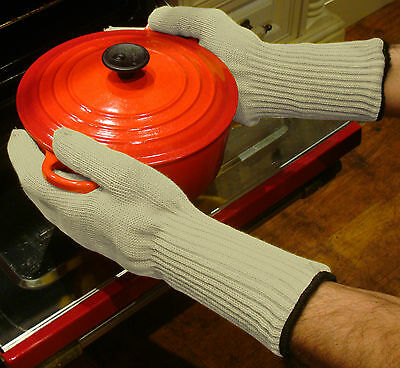 MEDIPAQ™ Long Wrist Heat Proof Oven Gloves - Protection Mitts Hot Kitchen Pots 2
