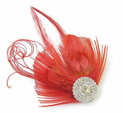 Red & Silver Peacock Feather Fascinator Headpiece Hair Clip Vintage Diamante U16 2