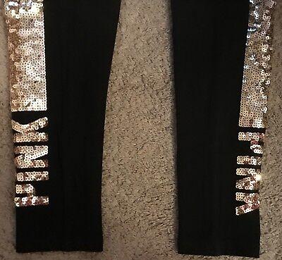 NWT VICTORIA/'S SECRET PINK GOLD BLING SEQUIN LOGO BLACK COTTON FOLDOVER LEGGINGS