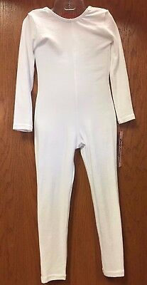 Body Wrappers MT217 Adult Size Small 4-6 White Full Body Long Sleeve Unitard