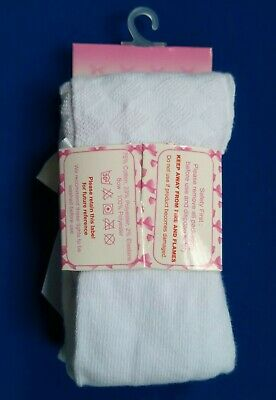 Girls Spanish Style Tights Diamond Bow Age 0 1 2 3 4 5 Years White Pink Rose NEW 10