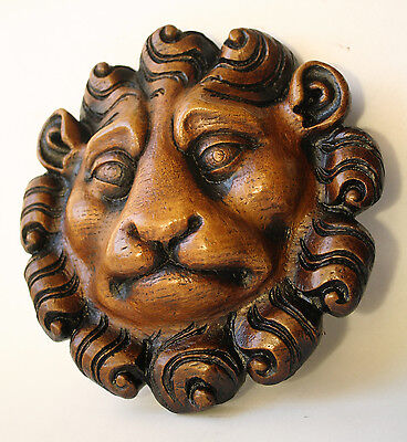 Lion Mask Reproduction Medieval Oak Ecclesiastic Carving Unique Hand Made Gift 3