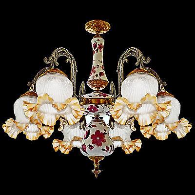 Fabulous Antique 1930 Art Deco/Lalique Art-Glass Style/Porcelain/Gilt Chandelier 3