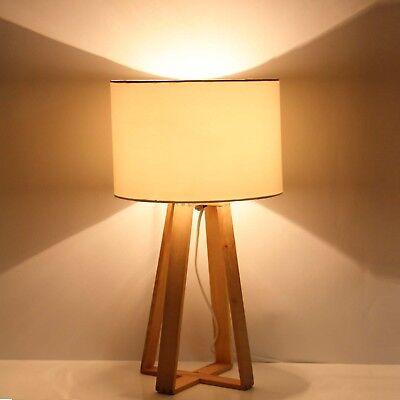 Lampe Tischlampe Design Holz Leuchte Lampenschirm Mit Tischleuchte 48 Cm Weiß WEYbeI9H2D